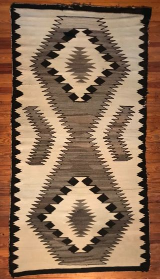 "Large Hourglass Design 87"" Navajo Rug,  Variegated Handspun Wool,  C1940"