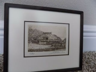 """Japanese Hiroto Norikane Signed Numbered Etching Snowing In The Mountains """"home"""""""
