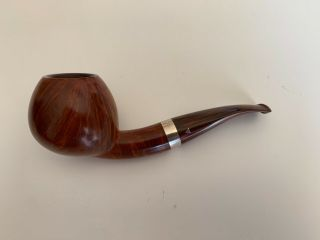 "Kurt Balleby Handmade In Denmark "" B "" Smooth Silver Cumberland Apple Pipe"