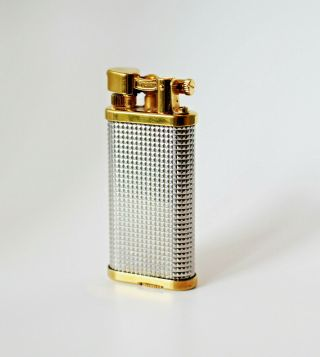 Dunhill Unique Lighter - Silver Plated Hobnail With Gold Plated Trim