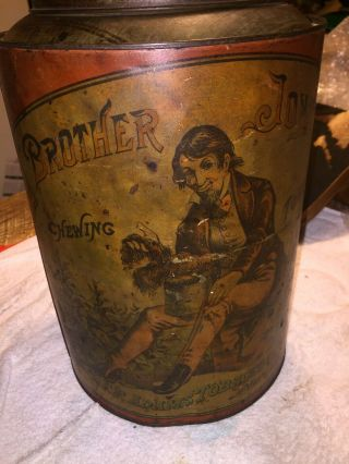 Rare Brother Jonathan Antique Tobacco Tin By Ff Adams & Co