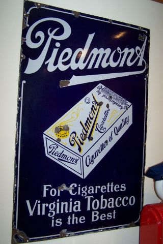 Vintage Piedmont Cigarette / Tobacco Porcelain Sign - Early 1920