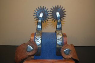 Vintage Kelly Bros.  Single - Mounted 4 - Heart Spurs With Straps