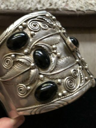 400 Gram Ceremonial Onyx Native American Sterling Silver Arm Band
