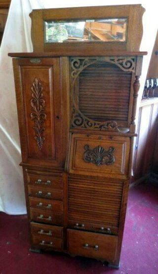 Antique Oak Harvard Dental Cabinet Top Of The Line Circa 1900's