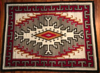 LARGE NAVAJO KLAGETOH RUG,  INTRICATE DESIGN,  COLORS, 5