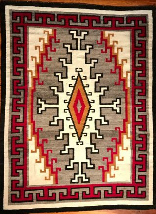 LARGE NAVAJO KLAGETOH RUG,  INTRICATE DESIGN,  COLORS, 6