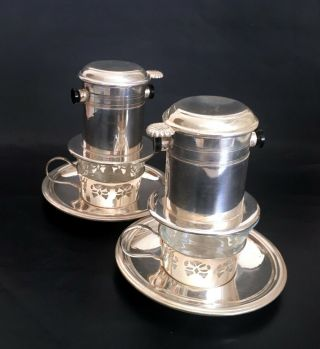 2 French Antique Drip Coffee Filters W/cups & Saucers – 1900's