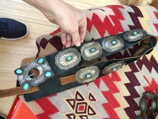 Great Signed Navajo Indian Sterling Silver & Turquoise Old Pawn Concho Belt