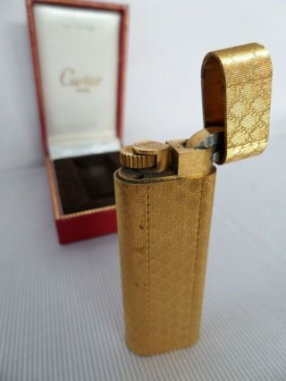 Cartier Vintage Lighter 1974 Gold Plated W/ Certificate And Accessories