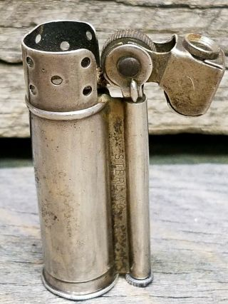 Vintage Dunhill Sterling Silver Service Lighter Wwii Trench Lighter Rare