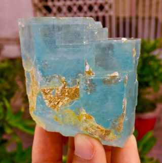 Wow 1347 C.  T Top Class Damage Terminated Blue Color Aquamarine Crystal