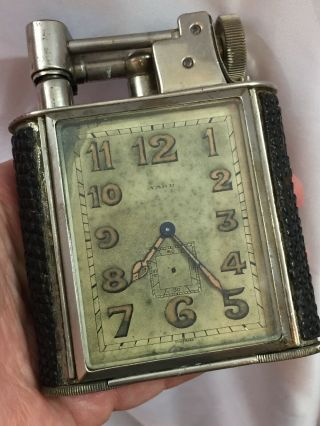 Classic English Lift Arm Table Lighter With Movado Movement Clock - Looks