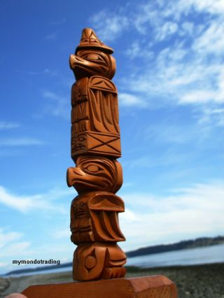 Pacific Northwest Coast First Nations Native Cedar Ray Williams Model Totem Pole