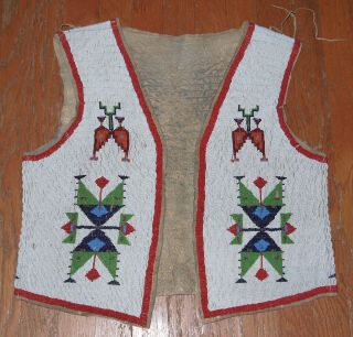 Adult Sioux Fully Beaded Hide Vest Circa 1880