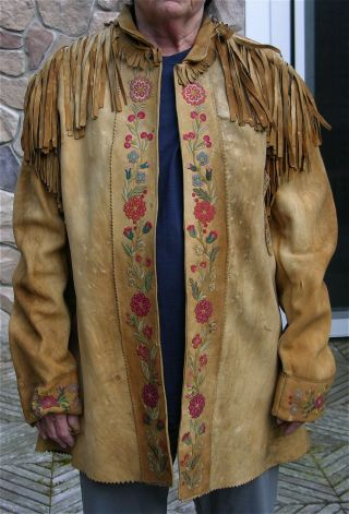 1880s Native American Plains Cree Indian Embroidery Decorated Hide Jacket / Coat
