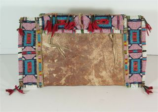 1880s Native American Cheyenne Indian Bead Decorated Parfleche Envelope / Case