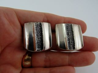 Signed Early Vintage C.  1959 Charles Loloma Earrings Tufa Cast Sterling Silver