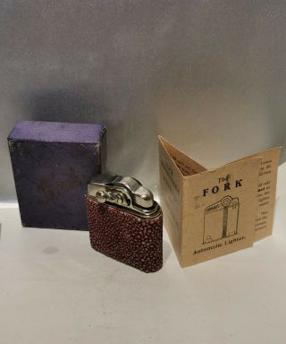 Vintage Red Shagreen Fork Petrol Lighter Boxed