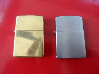 2 Vintage Zippo Lighters Brushed Chrome Finish And Solid Brass