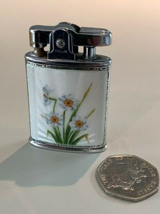 Ronson 925 Sterling Silver GuillochÉ Enamel Lighter.  Pat 621570 Made In England