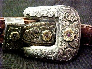 Dale Harris14k Gold With Rubies - Sterling Silver Belt Buckle - Santa Fe Mexico