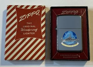 1957 Town & Country Zippo Lighter Uss Shields - Hand Painted Beauty - Mib