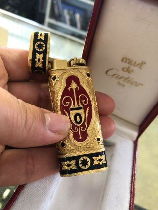 Vintage Les Must De Cartier Briquets Gold Red Black Enamel Lighter