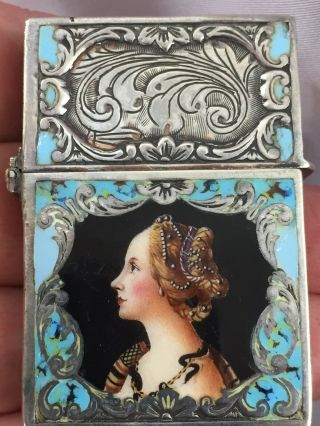Multi Color Enamel Portrait.  800 Silver Pocket Lighter With Zippo Insert