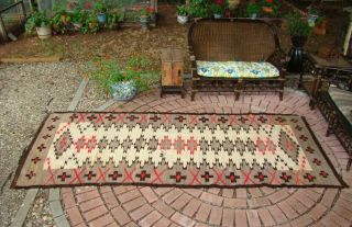 Antique Navajo Runner Rug Large 124x53 Native American Shabby Chic Cabin Weaving