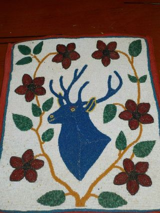 Antique Large Plateau Native American Indian Beaded Bag Pictorial Deer