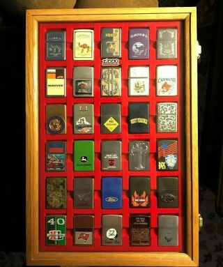 30 Zippo Lighters With Display Case