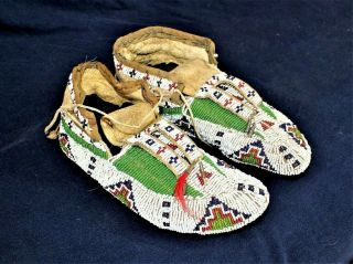 Ca1890s Pair Native American Sioux Indian Fully Beaded Hide Moccasins Bead Soles