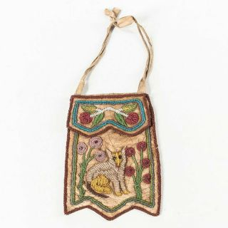 1880s Native American Iroquois Indian Bead Decorated Pictorial Hide Bag W/ Fox
