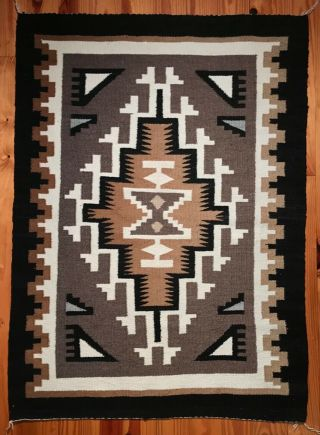 Great Vintage Two Grey Hills Navajo Rug,  Nr