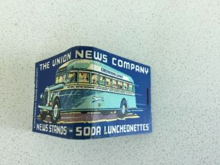 Vintage Feature Sticks Matchbook,  The Union News Company Greyhound Lines