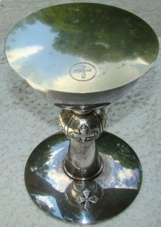 """Arts & Crafts Hammered Silver Catholic Reliquary 7 1/4 """" Chalice & Sterling Paten"""