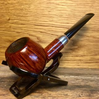 S.  Bang Tobacco Pipe,  Smooth Apple With Silver Accent Band,  Smoked (but Cleaned)