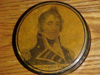 Scarce 19thc Papier Mache Snuff Box Captain James Lawrence War Of 1812