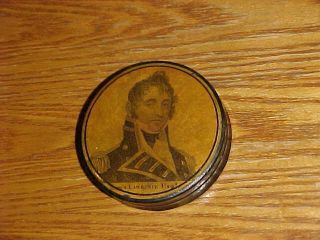 SCARCE 19thC Papier Mache SNUFF BOX CAPTAIN JAMES LAWRENCE War of 1812 2