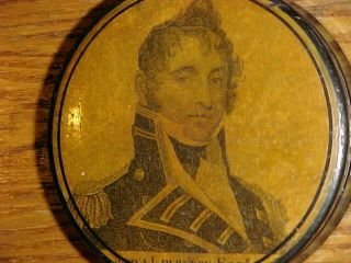SCARCE 19thC Papier Mache SNUFF BOX CAPTAIN JAMES LAWRENCE War of 1812 3