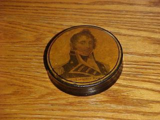 SCARCE 19thC Papier Mache SNUFF BOX CAPTAIN JAMES LAWRENCE War of 1812 4