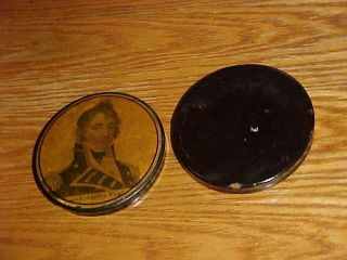 SCARCE 19thC Papier Mache SNUFF BOX CAPTAIN JAMES LAWRENCE War of 1812 7
