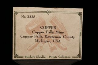 EXTRAORDINARY c 1856 Native Copper Crystal COPPER FALLS MINE,  MICHIGAN Ex Obodda 7