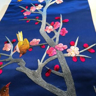 """Vintage Chinese Embroidered Blue Silk Tapestry Panel Birds Trees 37 """" X 15.  5 """" 2"""