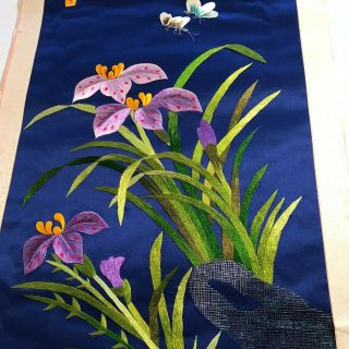 """Vintage Chinese Embroidered Blue Silk Tapestry Panel Flower Birds 37 """" X 15.  5 """" 6"""