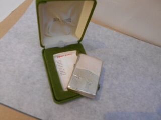 Sterling Silver Zippo With Green Box