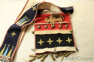 Sioux Beaded Hunting Bag On Trade Cloth W/cartridge Drops