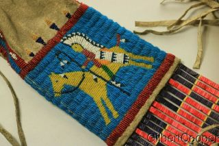 SIOUX BEADED FIGURE PIPE BAG W/FRINGE AND QUILLWORK 2