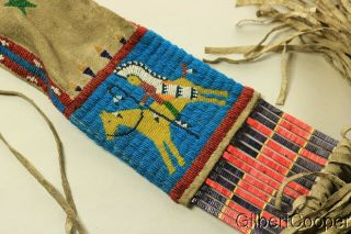 SIOUX BEADED FIGURE PIPE BAG W/FRINGE AND QUILLWORK 3